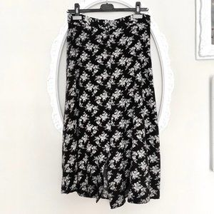 Vintage black and white floral print midi skirt